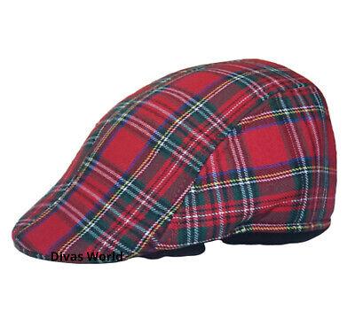 Rot Schottenkaro Schiebermütze Schottische Land-Scheck Herren Golf Freizeit - Schottische Mütze