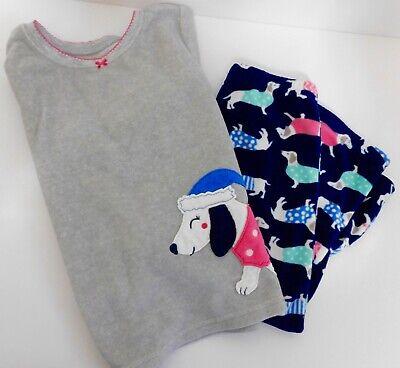 Carters Toddler Girls 2-Piece Fleece PJ Pajamas Set Dogs Dachshund Size 4T Blue