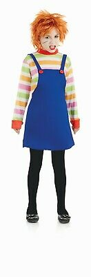 Kids Horror Movie Evil Doll Costume S - XL Girls Chucky Halloween Fancy Dress (Chucky Girl Kostüm)