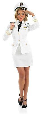 Womens White Captain Costume Ladies Navy Uniform Sailor Fancy Dress S - XXL](White Navy Uniform Costume)