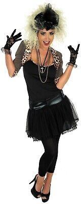 Womens 80s Pop Star Diva Costume Ladies Madonna Popstar Fancy Dress S - 3XL