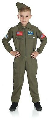 Fun Shack Boys Military Pilot Costume Kids Aviator Flightsuit Air Cadet Uniform