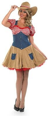 Womens Wild West Cowgirl Costume Ladies Country Rodeo Doll Fancy Dress S - XXL - Womens Doll Costume