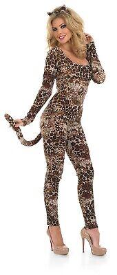 Womens Leopard Print Catsuit Costume Ladies Cougar Fancy Dress S - 3XL Sexy - Cougar Kostüm