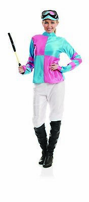 Womens Blue & Pink Jockey Costume S - XL Ladies Horse Racing Rider Fancy - Horse Racing Kostüm