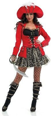 Womens Red Glitzy Pirate Lady Costume incl Hat Ladies Wench Fancy Dress S - XXL