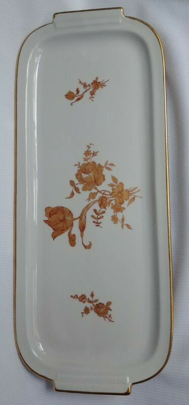 "Vintage LIMOGES France Rectangular Porcelain Tray with Gold Roses 15.5""×6.5"""