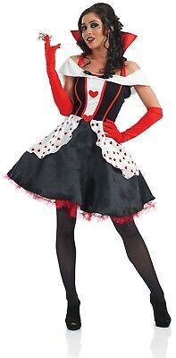 Womens Queen of Hearts Fancy Dress Costume S - 3XL Ladies Alice in Wonderland (Womens Queen Of Hearts Kostüm)
