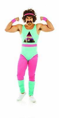 Mens 80s Fitness Instructor Costume M-XL Adult Mr Motivator Aerobics Fancy - 80's Fitness Kostüm