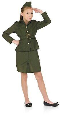 Kids WW2 Army Girl Uniform Childs 1940s Soldier Homeguard Fancy Dress Book Week - Ww2 Costumes Kids