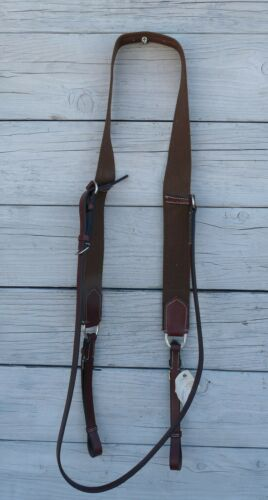 PHG Performance Horse Gear Elastic Leather English Breast Plate Brown 23564