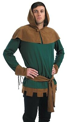 Mens Robin Hood Costume Adult Prince of Thieves Outlaw Fancy Dress M L XL Archer