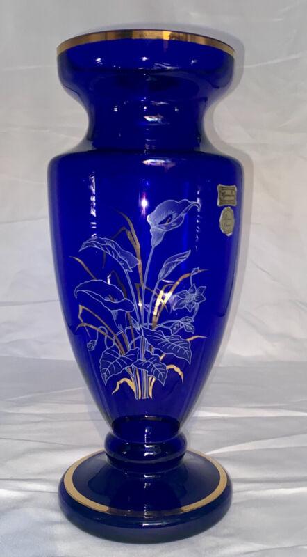 Vintage Egermann Czech Republic Cobalt Blue Vase Gold Enamel W/Original Stickers