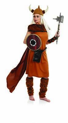 Womens Viking Warrior Princess Costume Helmet Nordic Barbarian Lady Fancy - Viking Womens Kostüm