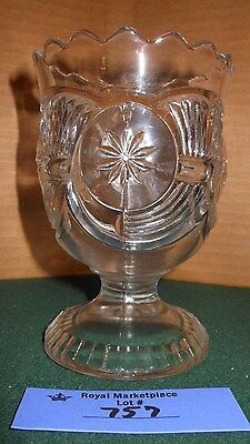 EAPG Antique CLEAR Glass Horn of Plenty SUGAR BOWL Footed