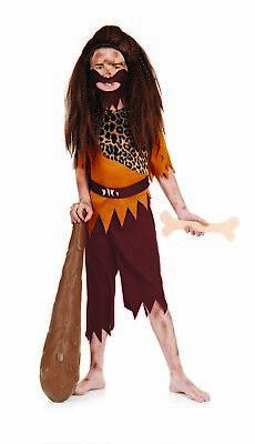 Boys Caveman Costume M - XL Kids Prehistoric Stone Age Fancy Dress Book Week