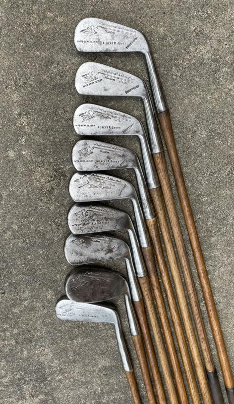 Matching Set Antique Hickory Spalding For Albert R Jones Kro Flite Irons