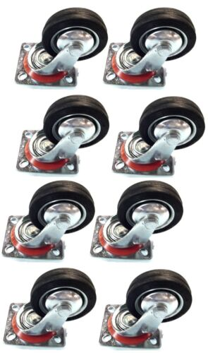 "8 pack 3"" Swivel Caster Wheels Rubber Base with Top Plate & Bearing Heavy Duty"