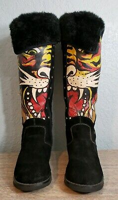 Hardy Tiger Leather (Ed Hardy Tiger Black Suede Leather Boots US Size 6  )