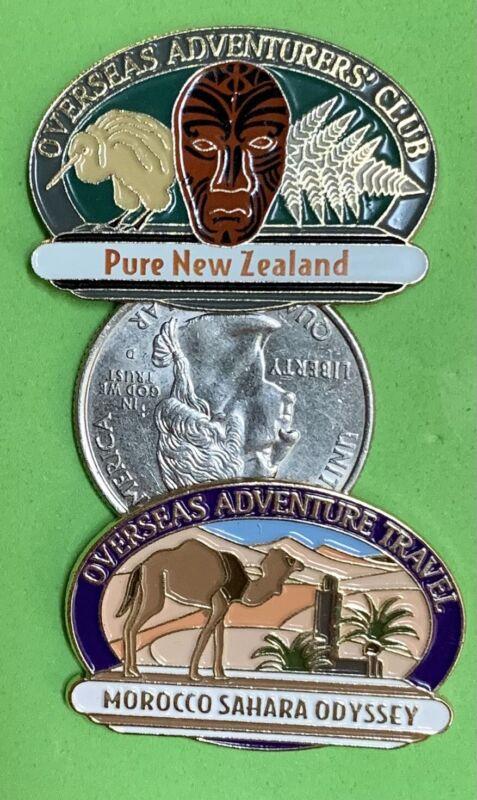 2 Overseas Adventure Travel Enamel Pins New Zealand & Morocco Sahara Odyssey EUC