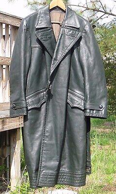 WW2  German Wehrmacht - Polizei - Leather Overcoat sz 42 Large