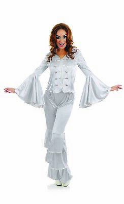 Womens 1970s Silver Dancing Queen Costume S - XXL Ladies 70s  Disco Fancy Dress