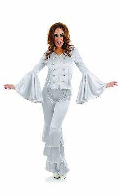 Womens 1970s Silver Dancing Queen Costume S - XXL Ladies 70s  Disco Fancy Dress