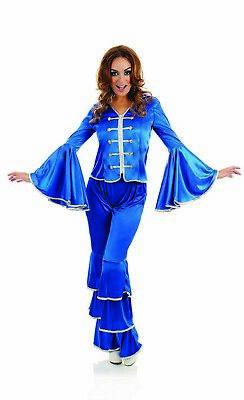 Womens 1970s Blue Dancing Queen Costume S-XXL Ladies 70s Disco Pop Fancy Dress