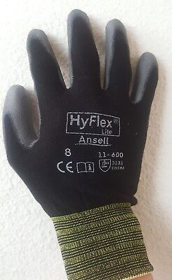 3 Pair Ansell Hyflex Lite Gloves Blackgray Size 8 11-600