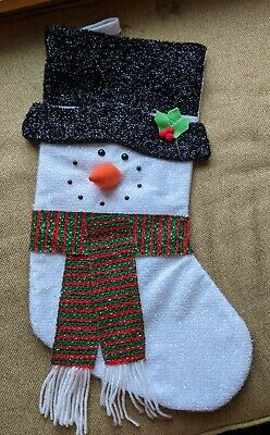 Traditional Snowman Christmas Stocking / Glitter, Sparkle w/ scarf & carrot nose