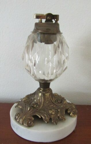 vintage BRASS & FACETED GLASS TABLE LIGHTER on MARBLE BASE