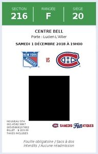 2 billets vs Rangers section Desjardins 1er décembre 2018.