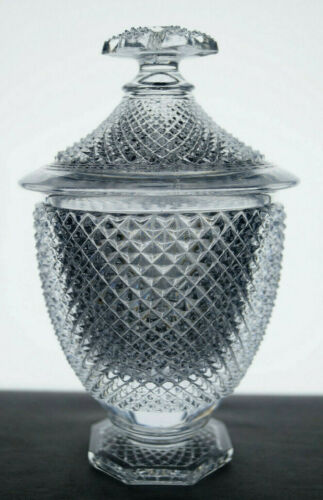French St Louis Pressed Flint Glass Diamond Bevels Pattern Sugar Sucrier C. 1840