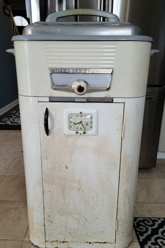 VINTAGE WESTINGHOUSE ROASTER OVEN WITH STAND-ALONE CABINET STAND