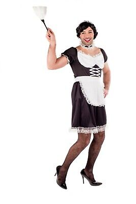 Mens Black French Maid Costume M-XL Adult Male Fancy Dress Stag Party Drag Queen