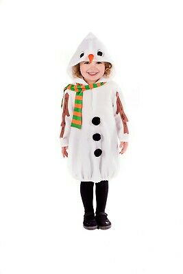 Olaf Costume For Girls (Toddlers Snowman Costume 1 - 4 yrs Boys Girls Christmas Party Fancy Dress)