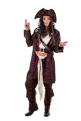 Mens Caribbean Pirate Captain Costume + Hat Wig Jack Sparrow Fancy Dress M L XL