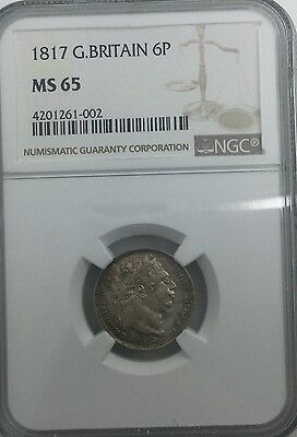 1817 GEORGE III  GREAT BRITAIN 6 PENCE NGC MS65 GEM MINTSTATE COIN