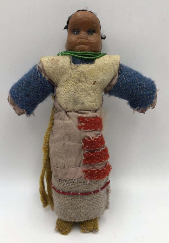 Antique Early American Doll 1900s Native Papier Mache Cloth Leather Beads Rare