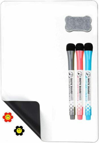 """Magnetic Refrigerator Dry Erase Whiteboard, 12""""x8"""" 3 Markers & 1 Eraser Included"""