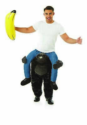 Gorilla Costumes For Adults (Mens Gorilla Piggyback Costume Adult Ride Me On Ape Fancy Dress for Stag)