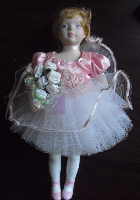 "Cute Porcelain and Cloth Blonde Ballerina Girl Doll  9"" Tall"