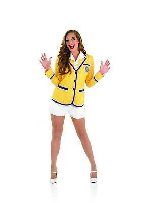 Womens Hi De Hi Costume S -XL Ladies 80s Holiday Camp TV Yellow Coat Fancy Dress