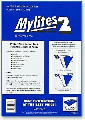50 E. Gerber Mylites 2 Mil Mylar Magazine Sleeves 900M2