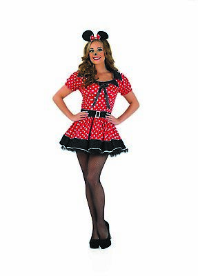 Deluxe Womens Minnie Mouse Costume Ladies Red Polka Dot Fancy Dress Size S - - Deluxe Minnie Mouse Kostüm