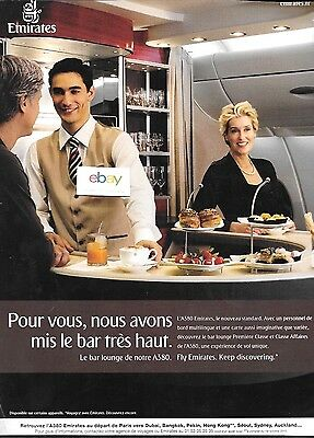 EMIRATES AIRLINES 2010 NEW AIRBUS A380 SERVICE TO PARIS LE BAR LOUNGE FRENCH AD ()