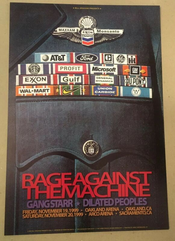 Rage Against Machine poster 1999 RATM Oakland Original Winston Smith art Graham