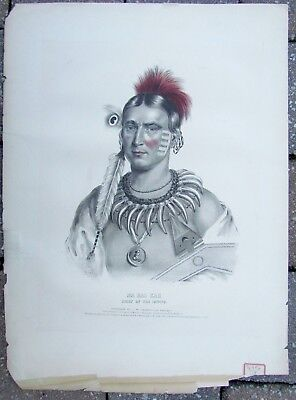 MA-HAS-KAH ORIGINAL 1836 ANTIQUE LITHOGRAPH NATIVE AMERICAN IOWAY INDIAN CHIEF
