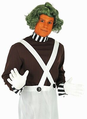 Mens Oompa Loompa Costume + Wig Adult Chocolate Worker Factory Fancy Dress S - Oompa Loompa Wigs