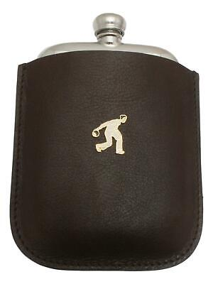 Bowls Male Enamel Pewter 4oz Hip Flask Leather Pouch FREE ENGRAVING 042